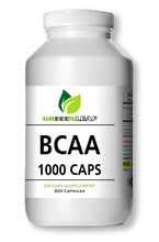 Load image into Gallery viewer, BCAA Branched Chain Amino Acids 1000mg Serving 200 Capsules GL