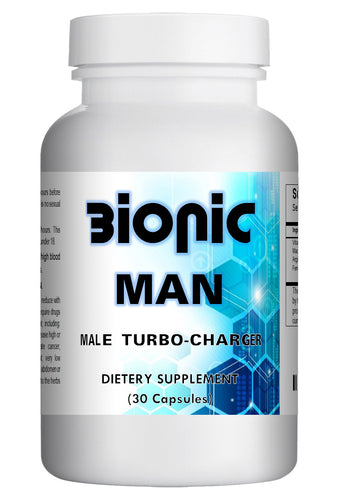 BIONIC MAN - SEX PILLS FOR MEN - INCREASE ENERGY AND STAMINA - NATURAL DIETARY SUPPLEMENT 30 Pills