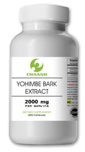 Load image into Gallery viewer, Yohimbe Bark Extract 2000mg High Potency 200 Capsules Big Bottle CH