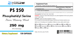 Phosphatidyl Serine 250, PS250, PS 250, 250mg Serving Big Bottle 120 Capsules PL
