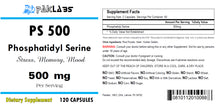 Load image into Gallery viewer, Phosphatidyl Serine 500, PS500, PS 500, 500mg Serving Big Bottle 120 Capsules PL