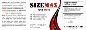 SizeMAX Effective Male Enhancement to increase penis size, hardness, stamina 120 Pills 2x Bottles
