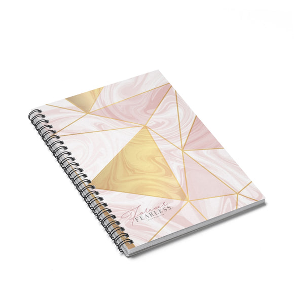 Pink Marble & Gold Spiral Notebook - Ruled Line - Forever Fearless Mag