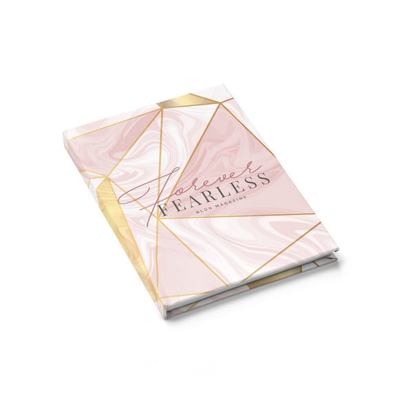 Marble Pink & Gold Logo Journal - Ruled Line - Forever Fearless Mag