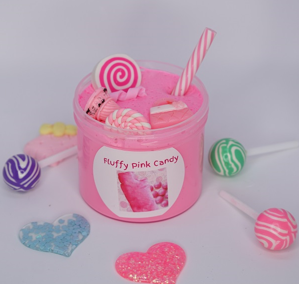 Fluffy Pink Candy Clay Slime