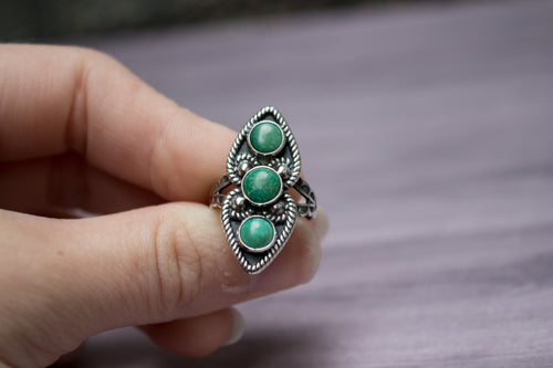 sterling silver three stone variscite ring