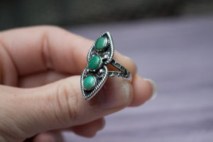 Vintage Native American Sterling Silver Three-Stone Green Variscite Ring, Size 6