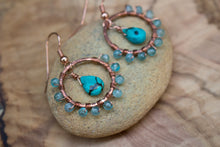 Hand-forged Copper, Turquoise, and Wire-wrapped Apatite Dangling Hoop Earrings