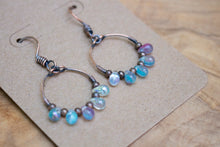 Hand-forged Copper Dangling Hoop Earrings with Blue/Pink Czech Glass Drops