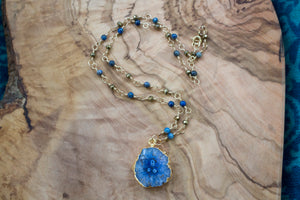 Gold-Plated Blue Druzy Slice Necklace with 14k Gold-Filled Lapis Lazuli and Pyrite Chain