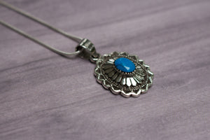 "Vintage Native American Sterling Silver & Blue Turquoise Stamped Pendant, 18"" Chain"