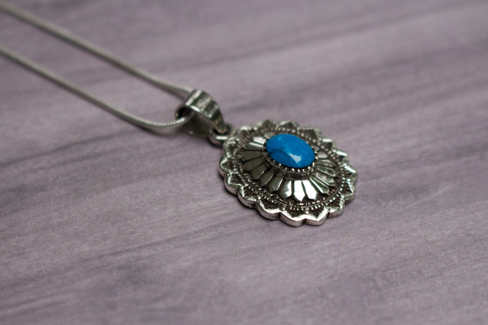 Vintage Native American Sterling Silver & Blue Turquoise Stamped Pendant, 18