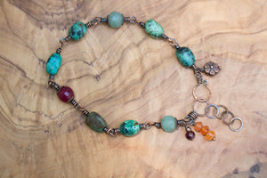 Copper Wire-wrapped Mixed Gemstone Bracelet with Charm Dangles