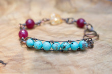Copper Wire-wrapped Mixed Gemstone Bracelet with Turquoise Beads