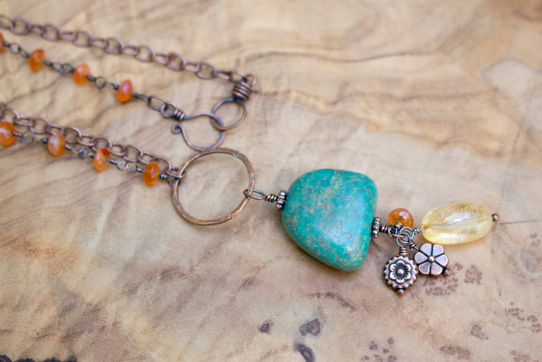 Copper, Turquoise, Carnelian, and Citrine Summer Flowers Necklace
