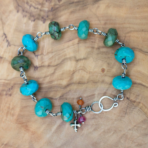 Antiqued Sterling Silver and Wire-wrapped Faceted Genuine Turquoise Bracelet