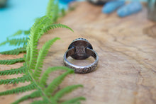 Heavy, Ornate Sterling Silver Labradorite Ring with Floral Band, Size 9