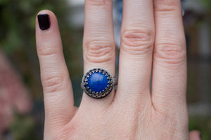 Sterling Silver Lapis Lazuli Ring, Size 6