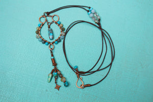 Long Boho Leather, Copper, and Turquoise Gemstone Necklace