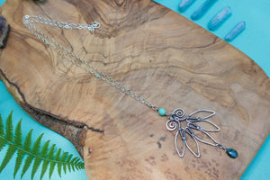 Antiqued Sterling Silver Wire-wrapped Lotus Necklace with Labradorite Drop
