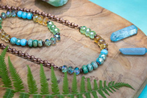 Antiqued Copper, Sparkly Turquoise Crystal and Green Stone Matching Necklace and Bracelet Set