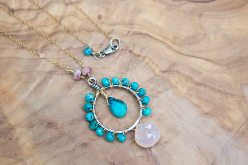 Mixed Metal 14k Gold-filled and Sterling Silver Wire-wrapped Turquoise and Peach Chalcedony Necklace