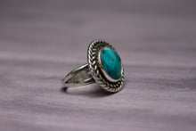 Vintage Native American Blue Turquoise Sterling Silver Ring with Pyrite Flecks, Size 5