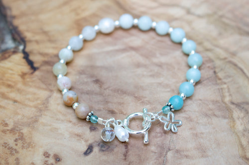 Sterling Silver, Amazonite, Freshwater Pearl, Apatite, and Citrine Under-the-Sea Bracelet
