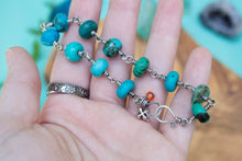 Antiqued Sterling Silver and Wire-wrapped Genuine Turquoise Bracelet
