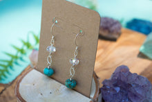 Sterling Silver Swarovski Crystal and Genuine Turquoise Earrings