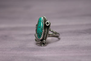 Vintage Native American Sterling Silver Turquoise & Swirls Ring, Size 6 1/2