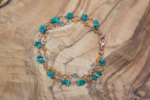Copper Turquoise Chip, Faceted Citrine, and Apatite Double-Strand Bracelet