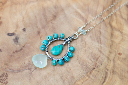 Sterling Silver Wire-wrapped Faceted Turquoise, Aqua Chalcedony, and Aquamarine Necklace
