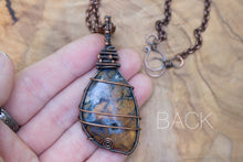 Copper Wire-wrapped Purple and Orange Freeform Stone Necklace