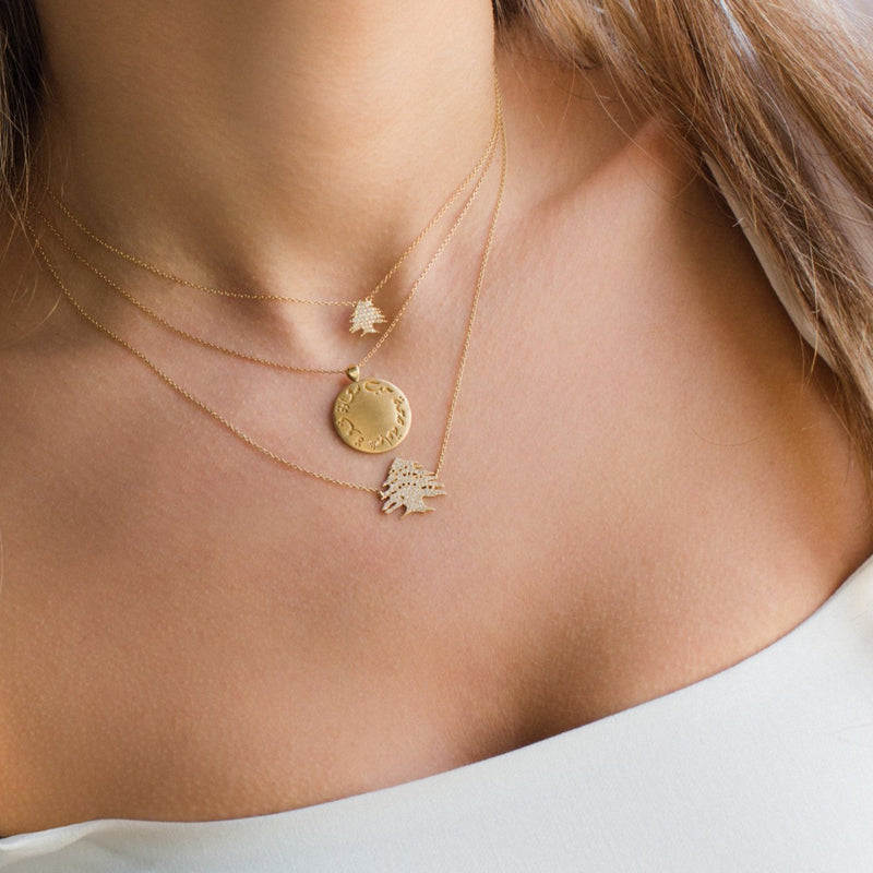 Ceder Tree Gold Necklace Small