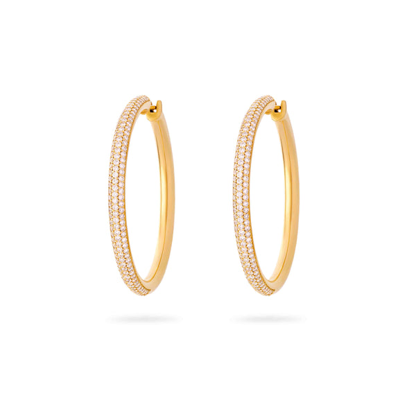 Large 3 Row Diamond Studded Hoops- Yellow Gold