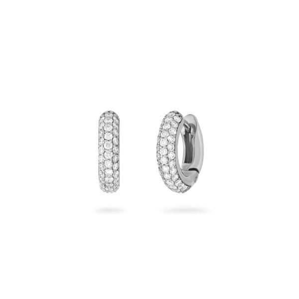 3 Row Diamond Studded Hoops- White Gold