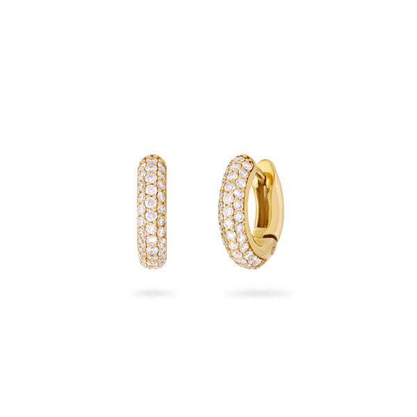 3 Row Diamond Studded Hoops- Yellow Gold