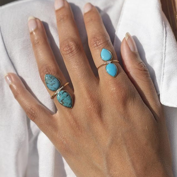 Turquoise Double Pear Ring Large