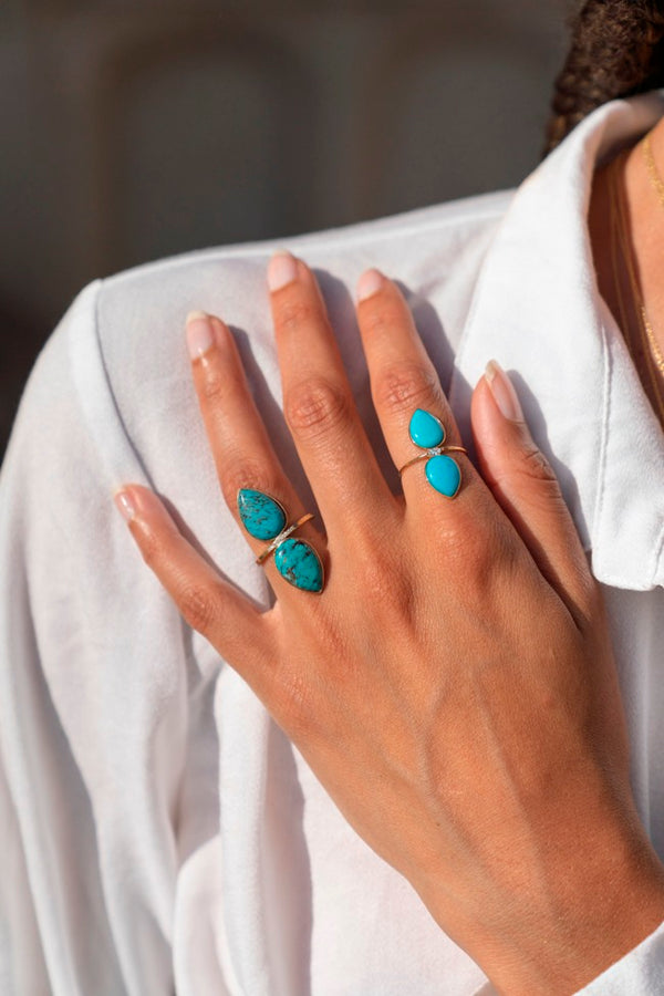 Turquoise Double Pear Ring Small