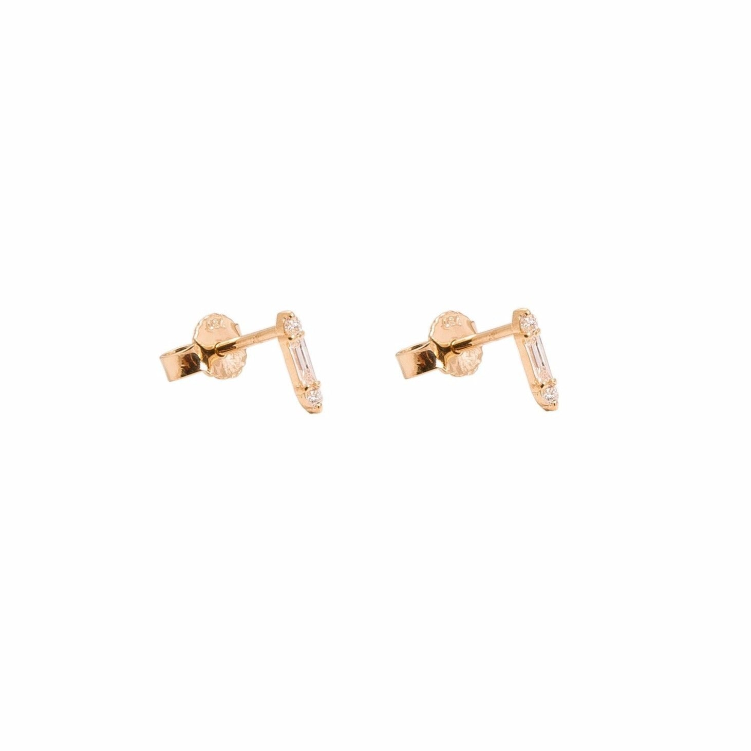 18 karat gold diamond baguette earring studs