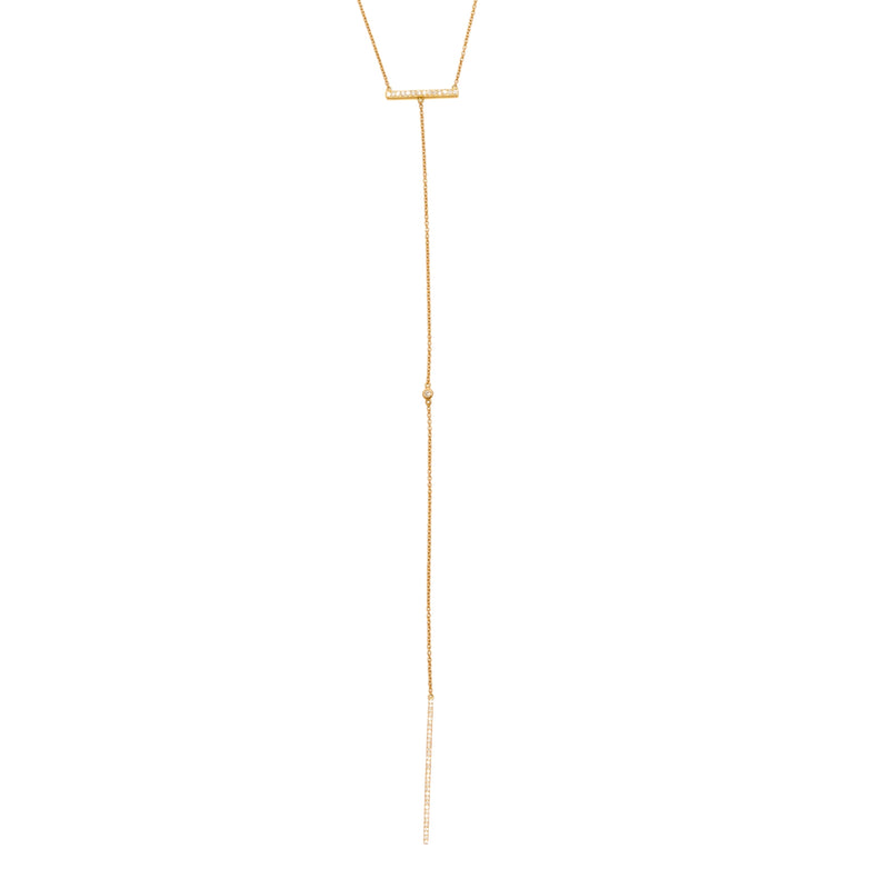 Yellow Long bar Drip Necklace