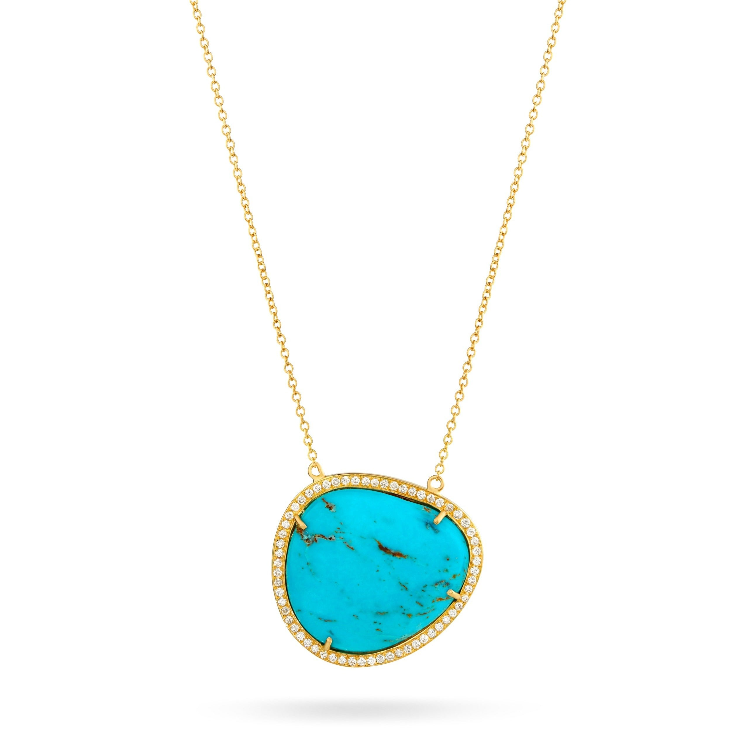Turquoise Halo Diamond Necklace