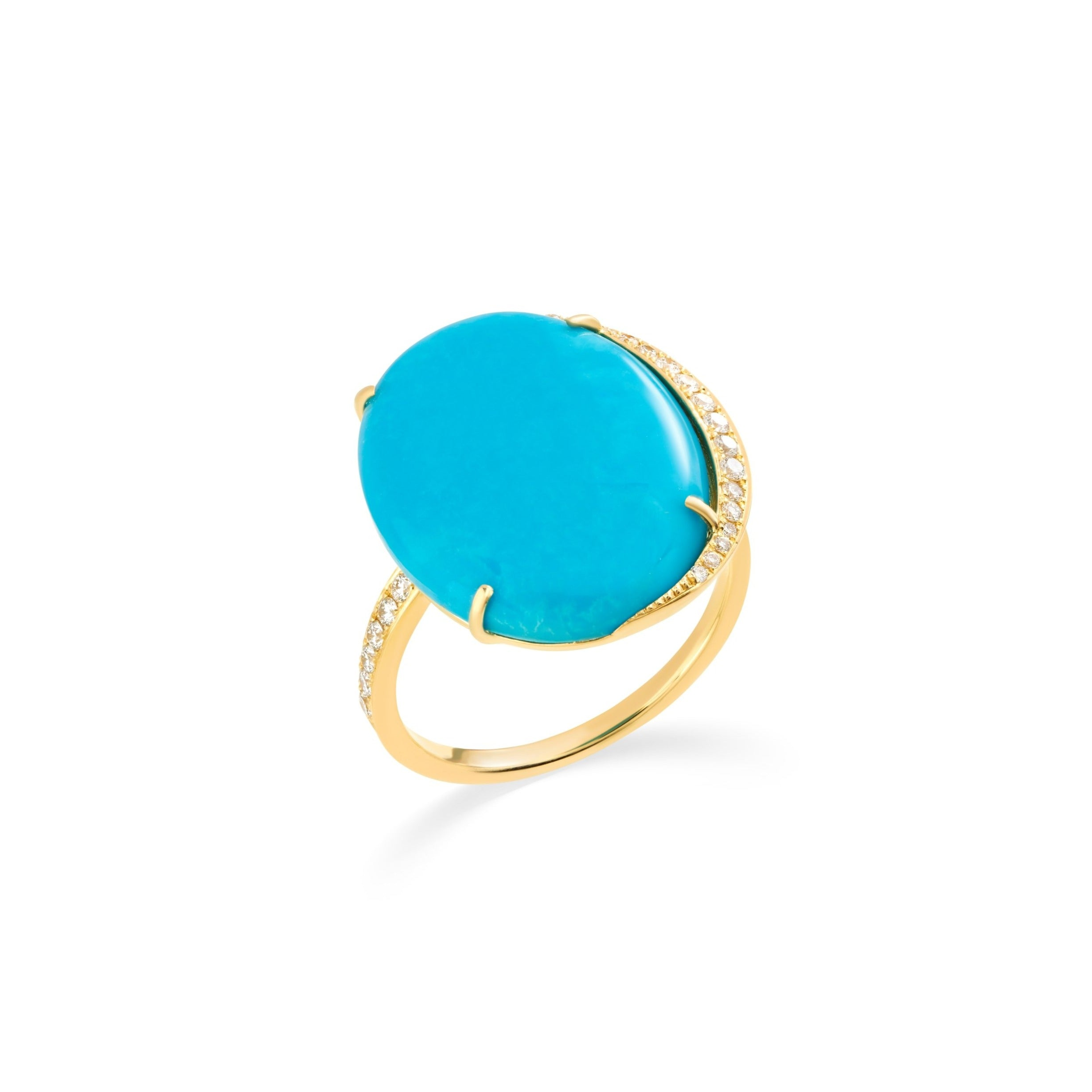 Turquoise Luna Ring with Diamonds