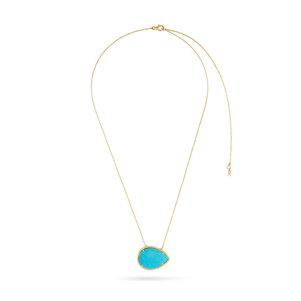 Turquoise and Diamond Luna Necklace
