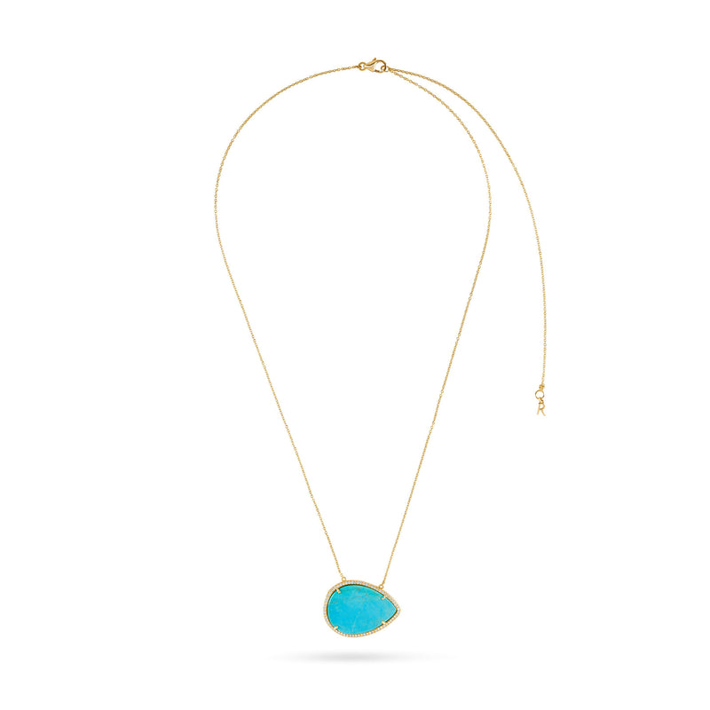 Side Pear Turquoise Halo Diamond Necklace