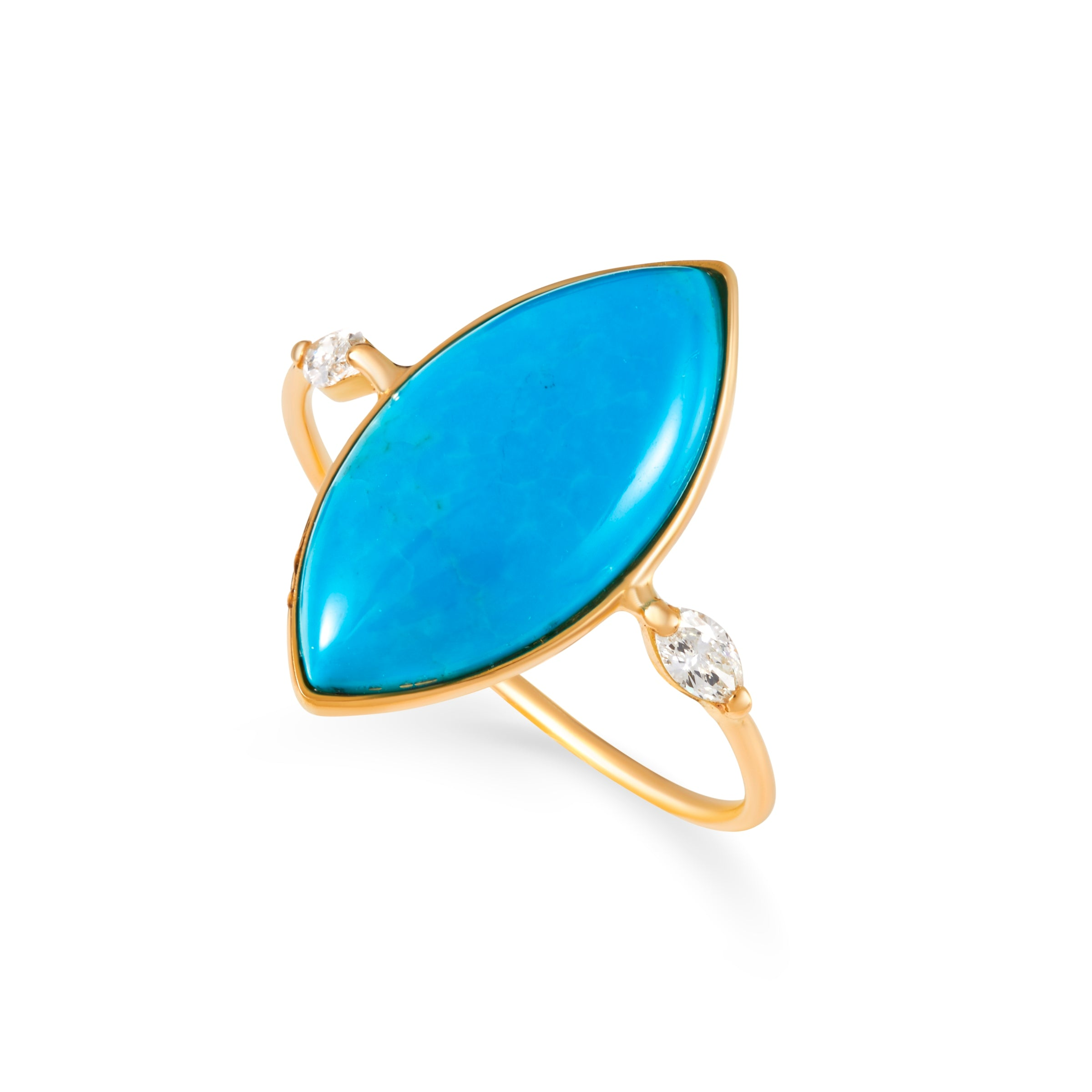 Turquoise Marquise Ring with 2 Marquise diamonds