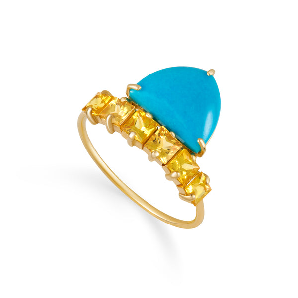 Turquoise Yellow Sapphire Row Ring