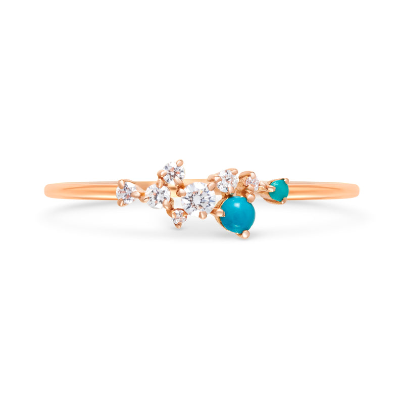 Diamond Turquoise Cluster Ring