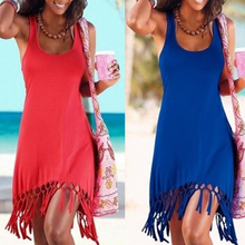 Load image into Gallery viewer, Round Neck  Fringe  Plain Shift Dress